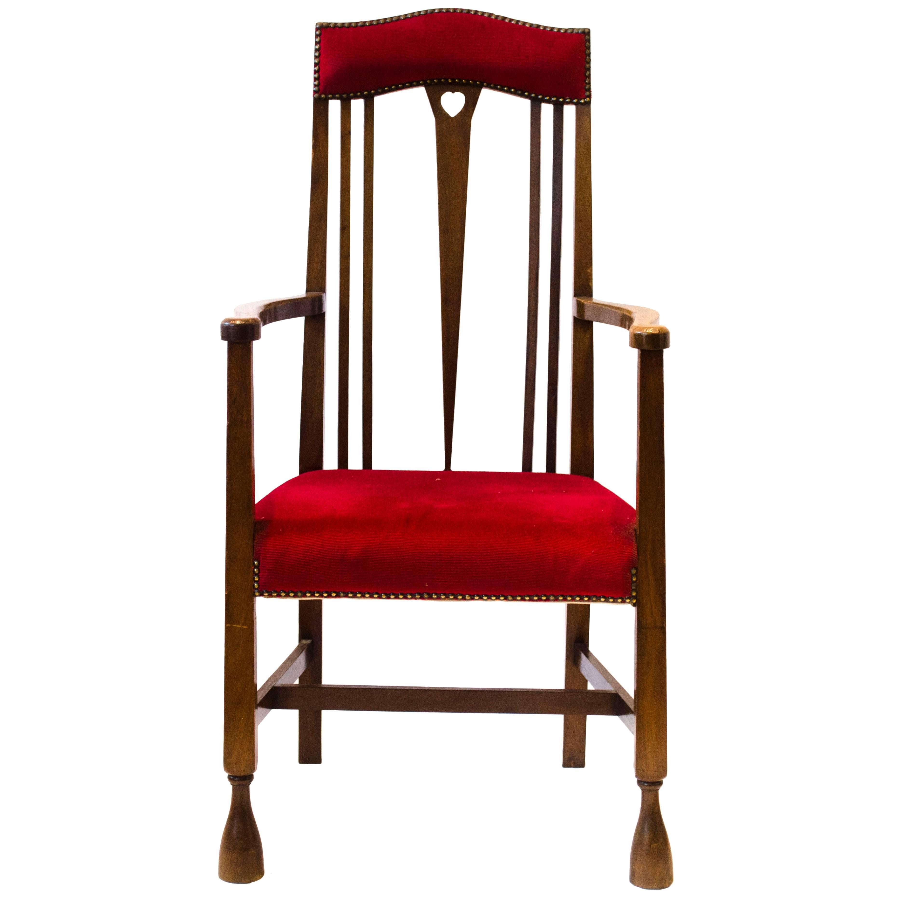 Liberty & Co, Attr An Arts & Crafts Mahogany Armchair Inlaid with a Pewter Heart