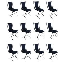 Set of 12 Maison Jansen Chrome Chairs