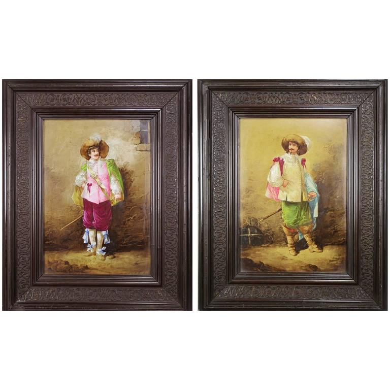 Pair of French Porcelain Plaques of Musketeers by Leon Berthaud