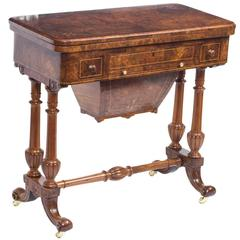 Antique Victorian Burr Walnut Card Games Table, circa 1870