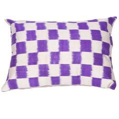 Ikat Pillow Made Out of an 1900s Uzbek Ikat