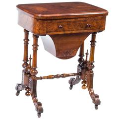 Antique Victorian Burr Walnut Games Work Table, circa 1870