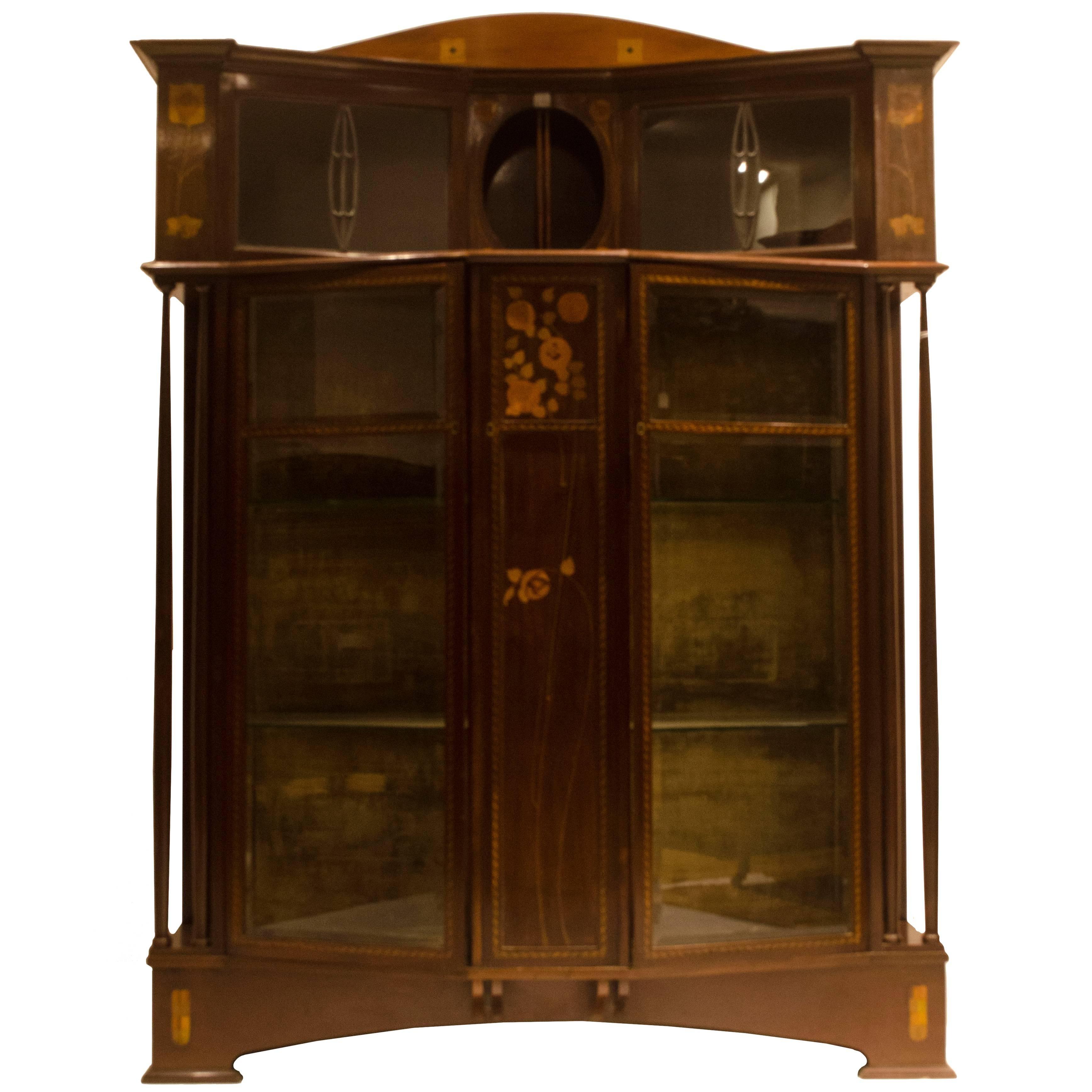 Arts & Crafts Mahogany & Inlaid Display Cabinet by E. Goodall