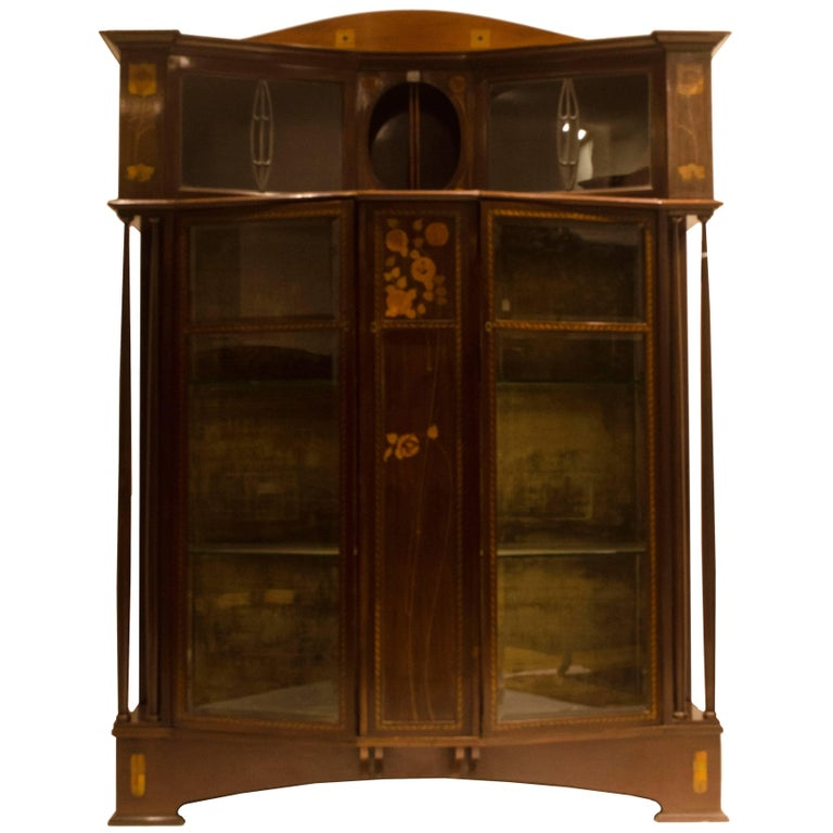 Arts & Crafts Mahogany & Inlaid Display Cabinet by E. Goodall For Sale