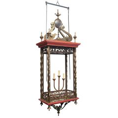 Monumental 20th Century Brass and Wood Lantern