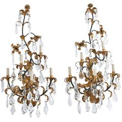 Foliate Wrought Iron and Crystal Sconces, 20th Century