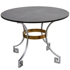 English 20th Century Neoclassical Leather and Steel Card Table