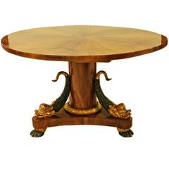 Empire Biedermeier Table for Parlor with Dolphins Vienna Nut Wood Veneer c.1815