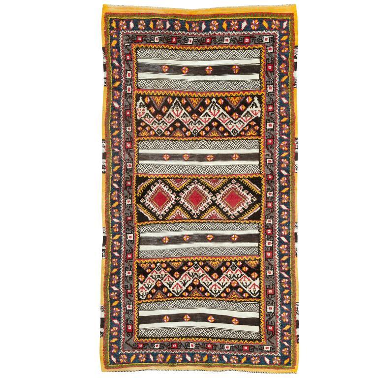 Vintage Moroccan Souf Flat-Weave Rug At 1stdibs