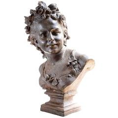 Cast Iron Young Woman Bust, 19th Century