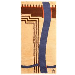 Small Antique French Art Deco Rug by J. H. Derche