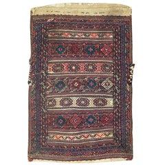 Vintage Persian Kurdish Tribal Bag Face Rug