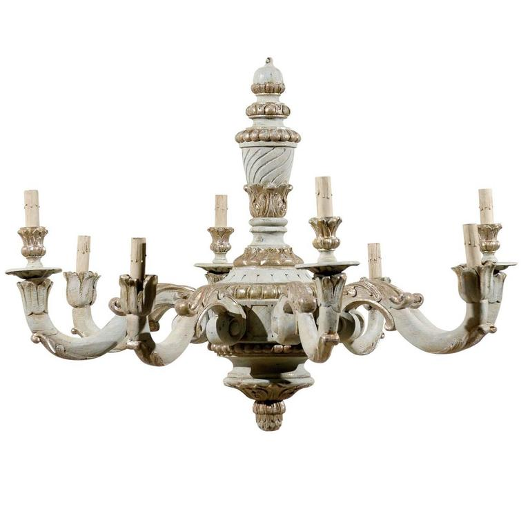 French Vintage Eight-Light Wooden Chandelier with Scrolled Arms