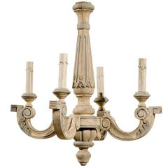 French Four-Light Vintage Painted Wood Chandelier