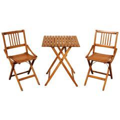 Mid-Century Italian Folding Table and Chairs, Brevetti Reguitti