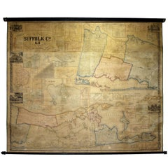 Framed Mid-19th Century Wall Map of Long Island, the Hamptons