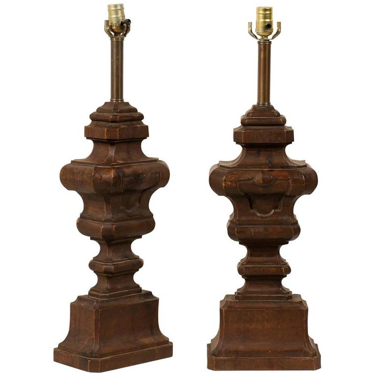 Pair of Italian Carved Wood Table Lamps