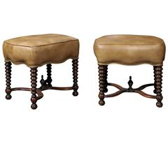 Pair of Stools with Leather