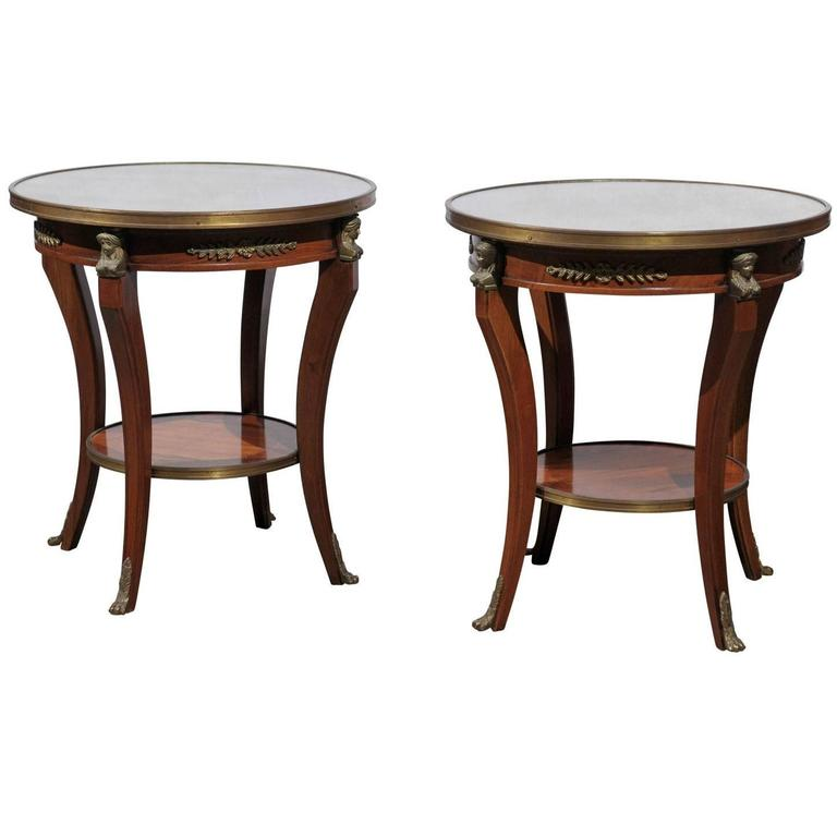 Pair Of French Empire Style Low Round Accent Tables With