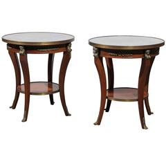 Pair of French Empire Style Low Round Accent Tables with Mirrored Tops and Shelf