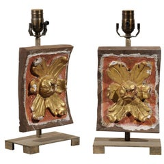 A Pair of Italian 20th C. Gilt and Painted Wood Fragments Made into Table Lamps