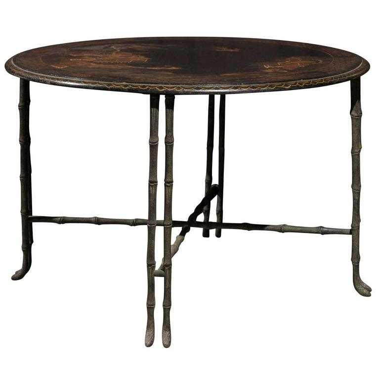 Round Chinoiserie And Bronze Cocktail Or Coffee Table For Sale At 1stdibs