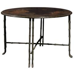 Vintage Round Chinoiserie Table with Japanning Scene and Bronze Faux-bamboo Legs