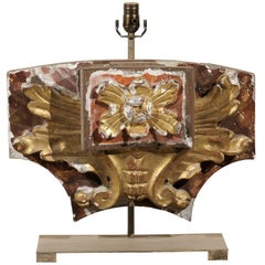 Italian Early 20th Century Gilded and Painted Fragment Mounted into Table Lamp