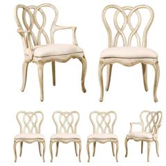 Set of Six Vintage Venetian Style Dining Room Chairs with Weaving Ribbon Back