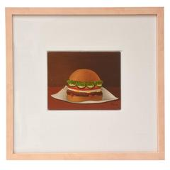 Signed Oil on Board Vintage Surrealist Style Hamburger Painting Custom Framed