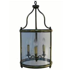 French Lantern Glass and Brass Hanging Ceiling Light