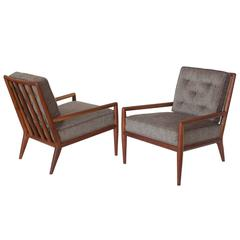 Pair of Robsjohn-Gibbings Walnut Lounge Chairs for Widdicomb