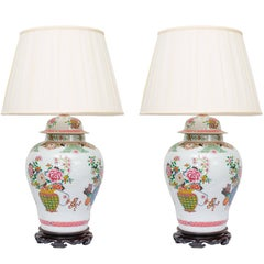 Pair of Chinese Urn Lamps on Scalloped Bases
