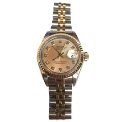 Rolex Lady's Oyster Steel and Gold Watch with Diamond Dial