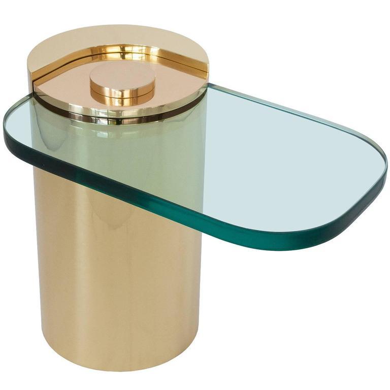 karl springer brass cylinder cantilevered side table at 1stdibs