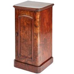 19th Century Victorian Burr Walnut Bedside Cabinet