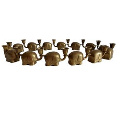 Very Rare Set of 14 Brass Candlesticks Candle Holders Elephant Herd