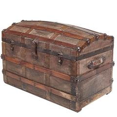 Unusual Victorian Dome Topped Chest Trunk