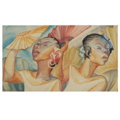 Lowell Houser Watercolor, Cuban Promenade, 1940s