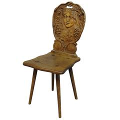 Carved Wedding Board Chair with Wine Queen, circa 1900