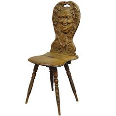 Carved Wedding Board Chair with Bacchus, circa 1900