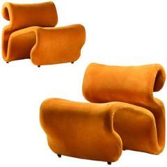 "1970s Scandinavian Mustard Yellow Lounge Chairs ""Et Cetera"" by Jan Ekselius"