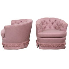 Pair of Purple Tufted Swivel Club Chairs