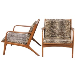 Pair of Danish Modern Leopard Upholstered Lounge Chairs