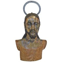 Early 19th Century Spanish Colonial Polychrome Bust of Christ with Crown