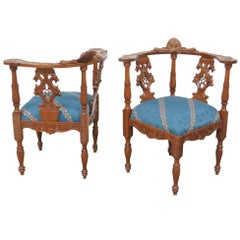 Pair of 19th Century Italian Carved Walnut Renaissance Figural Corner Chairs