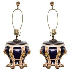 Pair of Mintons Porcelain Urns Now Mounted as Lamps
