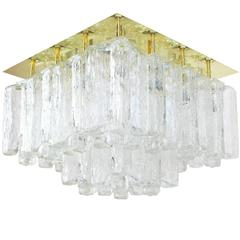 "Stunning Huge Kalmar Ice Glass Flush Mount ""Granada"", Austria, 1960s"