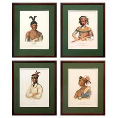 Four Original McKenney & Hall Hand-Colored Lithographs, circa 1837-1844