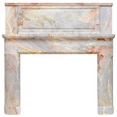 French Art Deco Period Sarrancolin Marble Fireplace, 20th Century